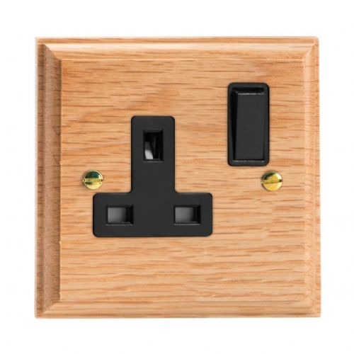 Varilight XK4OB Kilnwood Oak 1 Gang 13A DP Single Switched Plug Socket